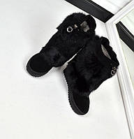 Зимние сапоги-пушистики материал натуральная замша, опушка натуральный кролик, внутри набивная шерсть