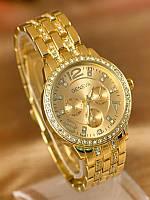 Роскошные женские часы geneva swarovski gold, silver (золото и серебро)