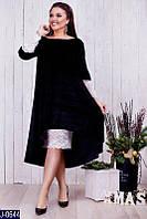 Стильное черное бархатное платье миди с гипюром. Сильная трапеция. Арт-12923