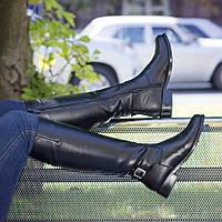 Классические кожаные сапоги с пряжкой на низком ходу 86029