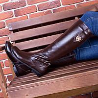 Кожаные сапоги коричневого цвета на низком ходу  86367