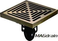 Трап сливной MAGdrain FC12Q5-Q- полированная бронза, 100х100 мм