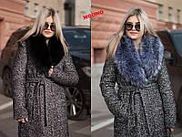 Женское зимнее пальто Ксения букле с искуственным воротником