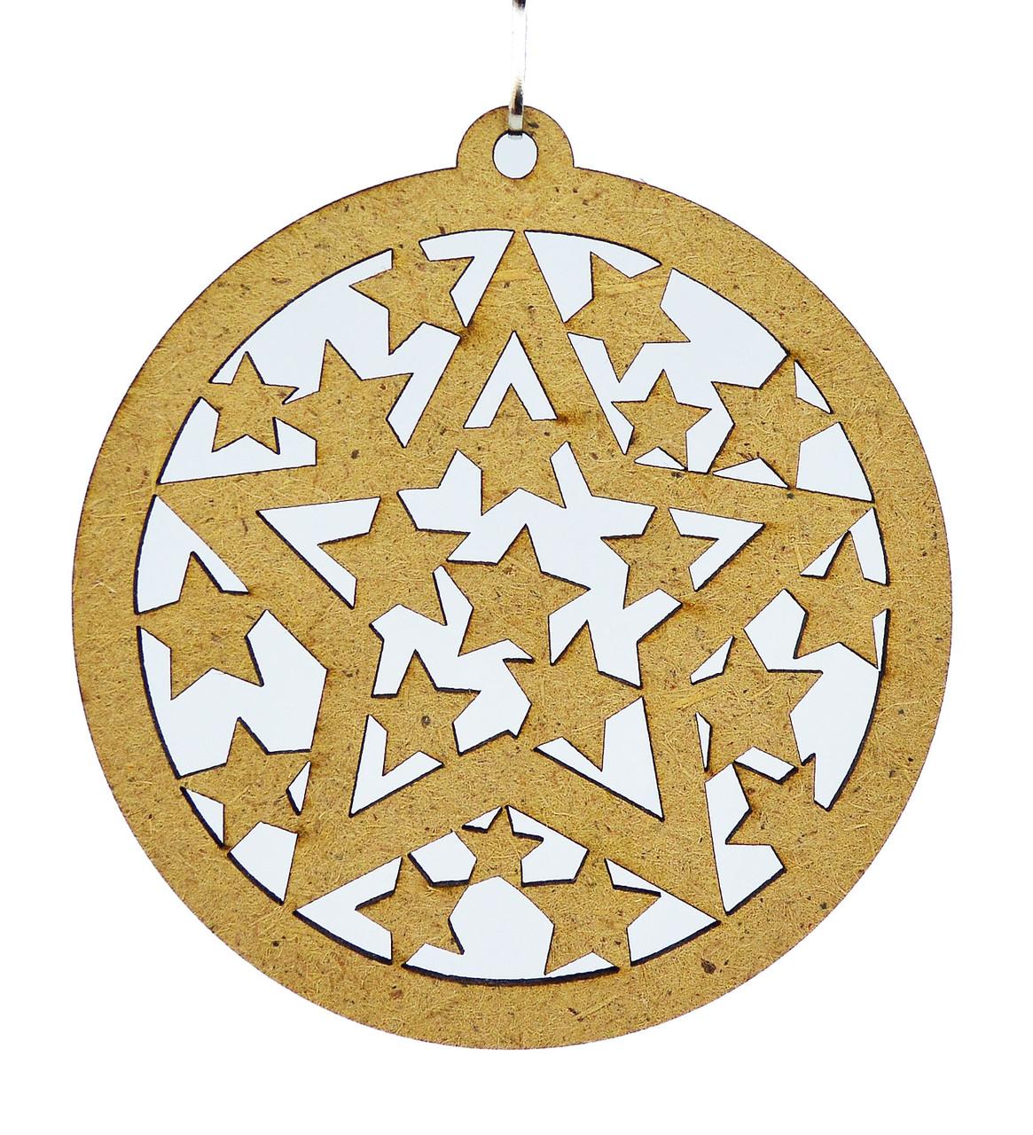 Деревянная новогодняя игрушка заготовка из ДВП. Круглое украшение со звёздами