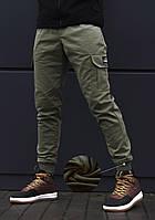 Штаны карго зимние мужские с карманами beZet Khaki