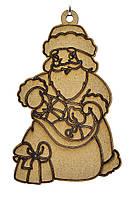 Деревянная новогодняя игрушка заготовка из ДВП. Дед мороз с мешком