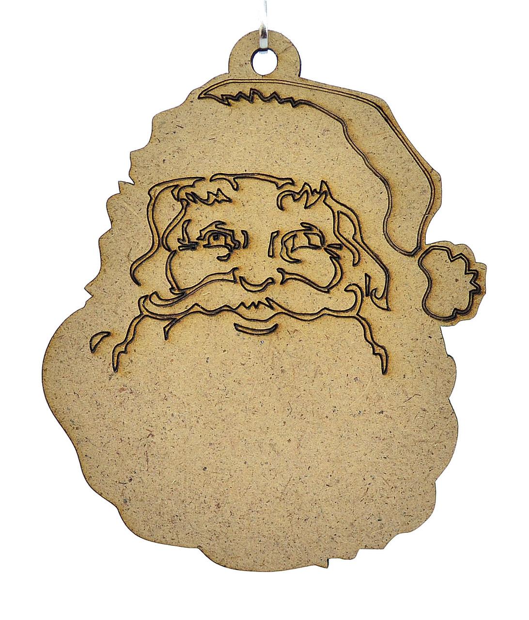 Деревянная новогодняя игрушка заготовка из ДВП. Дед мороз. Санта