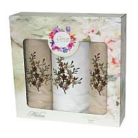 Подарочный набор полотенец в коробке - Gursan Cotton 2*50х90+70х140 бежевый