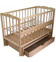 Кроватка для новорожденных с ящиком маятником Малятко бук