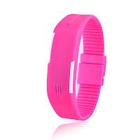 Спортивные Силиконовые  LED Часы розовый