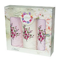 Подарочный набор полотенец в коробке - Gursan Cotton 2*50х90+70х140 розовый