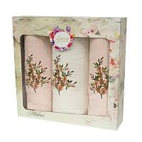 Подарочный набор полотенец в коробке - Gursan Cotton 2*50х90+70х140 салмон