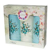 Подарочный набор полотенец в коробке - Gursan Cotton 2*50х90+70х140 бирюзовый