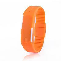 Спортивные Силиконовые  LED Часы оранжевый