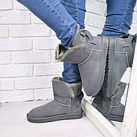 Угги женские Bow серые 3849  , зимняя обувь
