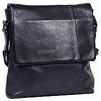 Мужская кожаная сумка с плечевым ремнем черная Tofionno TF00619-29911