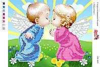 """""""Два ангелочка"""" СВ-4005 (А4). Частичная вышивка"""
