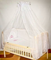 Балдахин на всю детскую кроватку с бантом из вуали (голубой, бежевый, белый, розовый)
