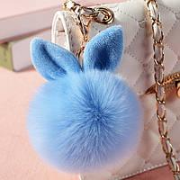Меховые шарики с ушками Голубой