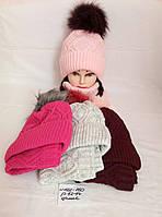 Классная шапка+хамут подростковая с бумбоном на флисе  р. 52-54, есть цвета