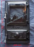 Дверка чугунная с жаростойким стеклом Румынская №9