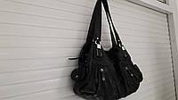 Качественная сумка женская  мягкой кожи на два отдела черная  *варенка*