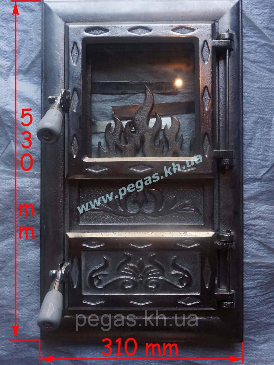 Дверка чугунная с жаропрочным стеклом Румынская №8