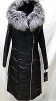 Пальто из эко-кожи на верблюжьей шерсти с капюшоном длина 115см с мехом чернобурки  46р-48р