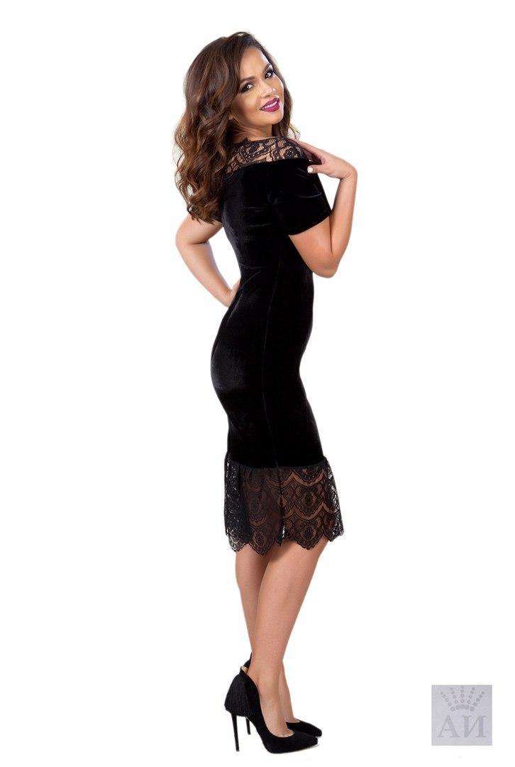 82bc824326b Женское бархатное платье с гипюром   продажа