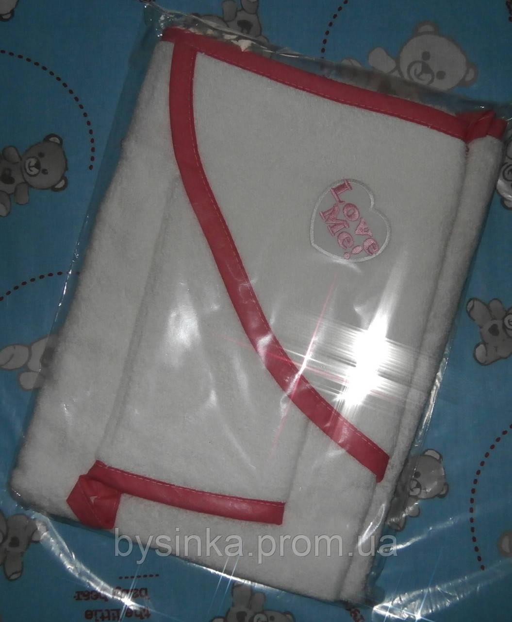 Полотенце-уголок для купания детей + рукавичка. 100% хлопок (махра)