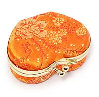 Шкатулка для украшений с зеркальцем оранжевая (8х7х3,5 см)E