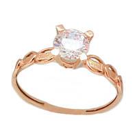 Золотое кольцо венчальное с фианитом  1-998