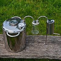 Дистиллятор на 17 литров из нержавеющей стали( стеклянный сухопарник или барботером и нержавеющий змеевик)