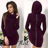 Платье стильное из ангоры с шикарным хомутом переходящим в капюшон 5 цветов SMfL1890