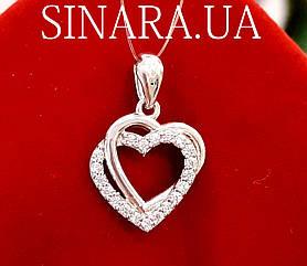 Серебряная подвеска Два сердца