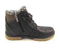 Ботинки подросток SBF кожаные с мехом черные (р.36,38,39)