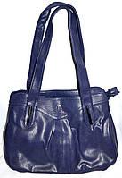Женская синяя сумка из искусственной кожи на два отдела 30*25, фото 1