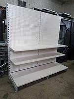 Пристенные стеллажи с перфорацией  б у,  линия 2 м.б у, торговые стеллажи б/у, металлически, фото 1