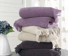 Soft cotton банний рушник FRINGE 75X150 rosa. антрацит