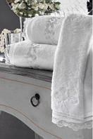 Soft cotton банний рушник LUNA 85х150 beyaz. білий