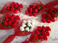 Долгосвежая роза Алый Рубин 7 карат на среднем стебле, фото 3
