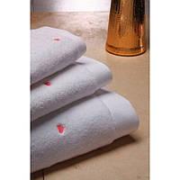 Soft cotton лицевое полотенце LOVE  50х100 PEMBE белый-розовый