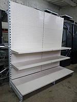 Стеллаж металлический перфорированный с полками, линия 2 м. бу, пристенный стеллаж б у, фото 1