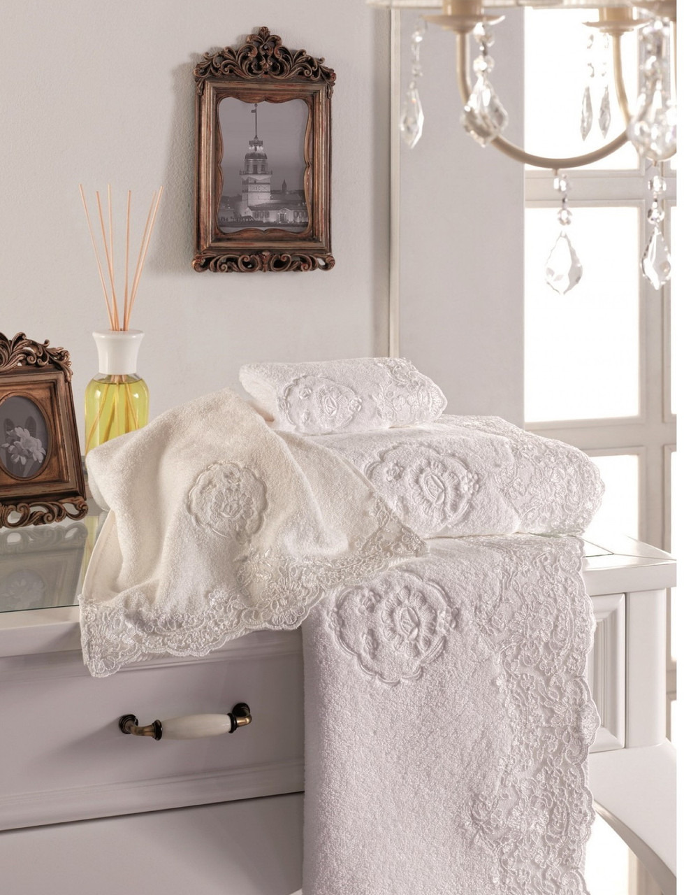 Soft cotton банний рушник DIANA 85х150 ekru. молочний