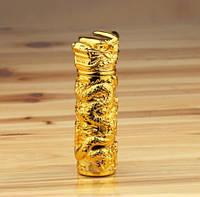 USB-зажигалка электроимпульсная Дракон. Цвет золото. Тип 13