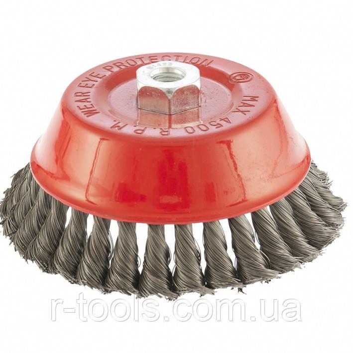 Щетка для УШМ 150 мм М14 чашка крученая проволока 0,35 мм MTX 746189