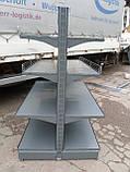 Стеллаж металлический  островной Модерн б\у,  двухсторонний стеллаж б у, фото 3