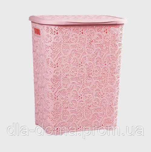 Корзина для белья ажурная розовая 32х41х41