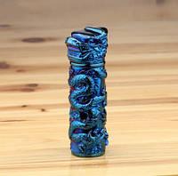 USB-зажигалка электроимпульсная Дракон. Цвет синий. Тип 13