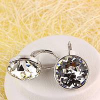 012-0050 - Серьги с кристаллом Swarovski Rose Crystal родий